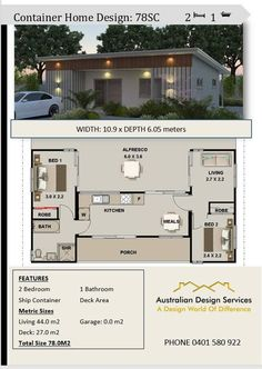3 shipping containers combined floor plans - cheap home design Plan Number: 78SC 2 Bedroom + Bathrooms + Living Room + Alfresco Home Size: Total: 840sq foot or 78.0 m2 ---------------------------- Width of home : 35 feet 9 inches or 10.930 meters Depth of Home: 19feet 8 inches or 6.05 meters