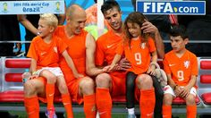 2014 FIFA World Cup™ - Photos - FIFA.com  Robin van Persie (3rd R) and Arjen Robben (2nd L) of the Netherlands celebrates the win with their children