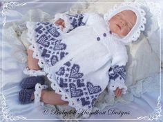 Heart Patterned Matinee Set 16-22 inch doll/0-3m baby-hearts, knitting pattern, matinee, doll, baby