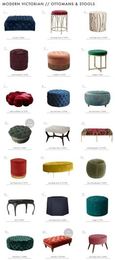 Modern Victorian Style: Furniture + Our Favorites Roundup - Emily Henderson Emily Henderson Modern Victorian Trend Furniture Ottomans Roundup Modern Victorian Decor, Victorian Style Furniture, Victorian Interiors, Victorian Fashion, Vintage Furniture, Modern Furniture, Victorian Rooms, Luxury Furniture, Furniture Outlet