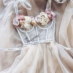 Floral bridal details from Cute Prom Dresses, Ball Dresses, Homecoming Dresses, Pretty Dresses, Beautiful Dresses, Ball Gowns, Formal Dresses, Gorgeous Wedding Dress, Dream Wedding Dresses
