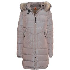 PARAJUMPERS Light Long Bear Cappucino // Down parka with fur trim (€649) ❤ liked on Polyvore featuring outerwear, coats, hooded coats, fur trimmed coat, bear coat, quilted coat and long quilted coat