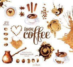Aquarell Kaffee Clipart Kaffeebohnen Tasse von ReachDreams auf Etsy