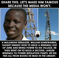 A Malawian teenager taught himself how to build a windmill out of junk and bring power to his vilkage.