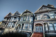 A row of Painted Ladies on Waller Street between Masonic and Ashbury in San Francisco, California