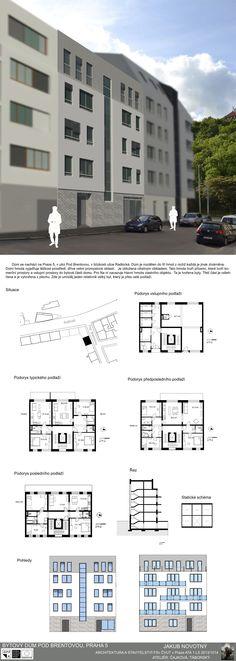 Studentský projekt. LS 2013/2014. FSv ČVUT v Praze. Praha, Multi Story Building, Floor Plans, Presentation Board Design, Floor Plan Drawing, House Floor Plans