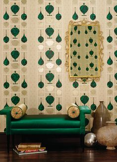 Wallpaper designing in shape of pan. This wallcovering accentuates very well with this silk upholstery couch.