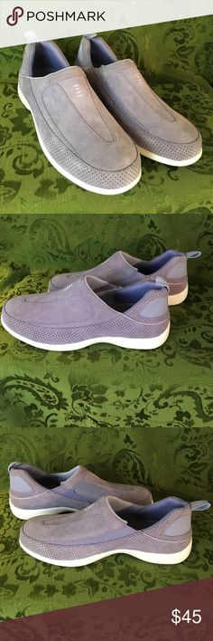 """NWOT Lands' End suede comfort slip on shoes sz 8B Pale lavender suede. Sell on the web for $55; it says """"comfy slip-ons feature a low profile outsole, so it's lightweight and streamlined. Still the same durable suede upper you love with a sturdy rubber outsole that provides great traction. The removable footbed cushions your steps and helps relieve fatigue so you can stay out and about longer. A heel tab helps you slip them on. A great, instantly-comfortable alternative to casual sneakers.""""…"""
