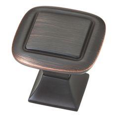 "Brainerd 1-1/4"" Bronze with Copper Highlights Square Cabinet Knob  Item #: 340655 |  Model #: P20327V-VBC-C  $2.97"