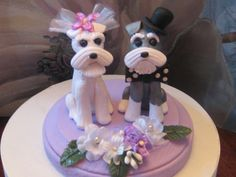Schnauzer Terrier Dogs Duo  Wedding Cake Topper by PawsnClaws, $80.00