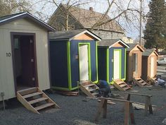 A new tiny house village for the homeless opens this week in Seattle. City leaders are also considering an urban RV park for homeless residents who park their motor homes on Seattle streets. Volunteers organizing the tiny house project on . Homeless Housing, Tiny House Village, Build Your Own Shed, Small Sheds, Cost To Build, Big Garden, Building A Shed, Shed Storage, Shed Plans