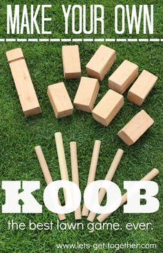 DIY: KOOB (The Best Lawn Game.) DIY KOOB from Let's Get Together - seriously the best outdoor game ever. Can be played with people, ages 5 and up on any outdoor surface.lets-get- Diy Yard Games, Diy Games, Backyard Games, Garden Games, Diy Wedding Yard Games, Yard Games For Kids, Backyard Parties, Backyard Play, Free Games