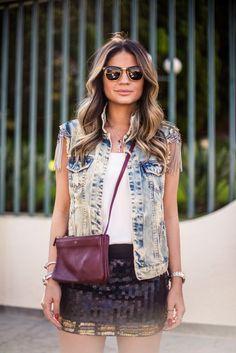 Thassia Naves - denin vest + sequin