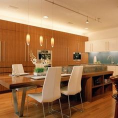 Interior, Modern Design With Table Island Cool Brown Color Wooden Material  Good Three Hanging Lamps Good Long Table Timber Floor Varnished: Designs  Our ...