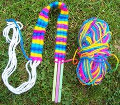 Weaving on straws - could make bracelets, headbands, scarves, belts etc. Oh my!!