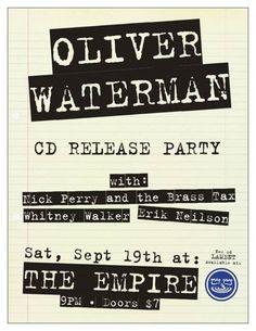 Oliver Waterman CD Release Party w/ Nick Perry's Brass Tax Portland @ EMPIRE - September 19th 2015 9:30 pm