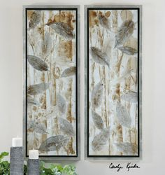 """Pressed Leaves, 19""""w x 51""""h, for king guest room"""