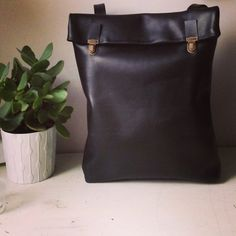 15 Leather Backpack / Leather Rucksack / Messenger / Laptop/ MacBook /Tote / For Her/ For Him/ Unisex/ Black/ Satchel/ Minimalist