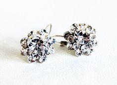 art deco clear crystal swarovski rhinestone tibetan silver plated earrings wedding jewelry bridal jewelry bridesmaids jewelry gifts on Etsy, 24,00$