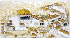 Reconstruction of the Capitoline Hill with the Great Temple of Juppiter Optimus Maximus and attendant temples