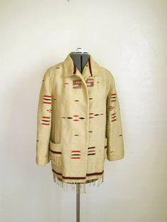 1930s CHIMAYO Style Blanket Coat / Southwestern Wool Coat AMAZING