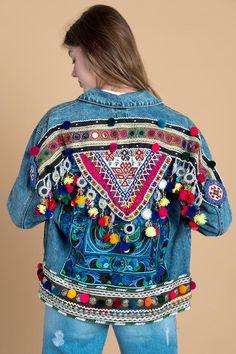 Bohemian Tribal Embellished Denim Jacket in Small V1.2