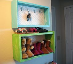 Perfect for unused wall space that could be storage in my mud room! I can definitely do this DIY without money! Upcycle old dresser drawers. I can't wait to see an old dresser on the curb or at a yard sale!