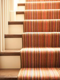 Multicolored striped stair runner to the basement. My kind of pop of colour. Striped Carpets, Patterned Carpet, Living Room Carpet, Bedroom Carpet, Carpet Design, Floor Design, Missoni, Carpet Styles, Flooring Options