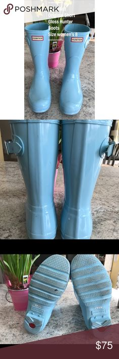 Pale Mint Original Short Hunter Boots Size 8  Pale Mint  I ordered these from Hunter in September and have probably worn them 5 times. They are in great used condition. I wanted to try them out but I don't really love them.  Wear  A few little scuffs  Red mark on one boot  I wrote my info inside one boot & crossed it out to sell.  The other boot has no writing in info section  Thanks! Hunter Shoes Winter & Rain Boots