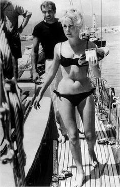 Catherine Deneuve, Roger Vadim 1962 Boat. Bikini