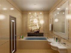 Узор плитки для ванной - панно на фото
