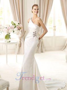 Elegant Trumpet / Mermaid Sweep / Brush Train One Shoulder Elastic Woven Satin White Wedding Dresses - $167.99 - Trendget.com