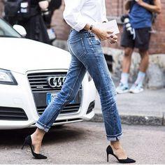 Classic white, denim, black heel