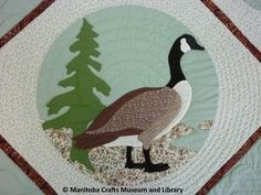 A quilt made by the Crafts Guild of Manitoba Quilters Group in 1989-90, showing eight species of birds. The quilt is divided into eight diamond shaped compartments, each with a pale green and white floral patterned background. In each compartment is a roundel with a pale green background, featuring a different bird executed in applique. Birds are: Mallard; kingfisher; seagull; loon; canada goose; wood duck; canvas back duck (most likely). Birds are highlighted with hand embroidery.