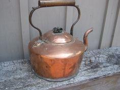 Old Copper Tea Pots | Antique Copper tea kettle coffee primitive old kitchen fireplace ...