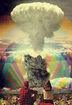 ::our love is like an atom bomb::psychedelic art::couple::Trippy::vibrant::black and white:.explosive:: to my dearest love Art Du Collage, Digital Collage, Digital Art, Art And Illustration, Psychedelic Art, Photomontage, Collages, Psy Art, Inspiration Art