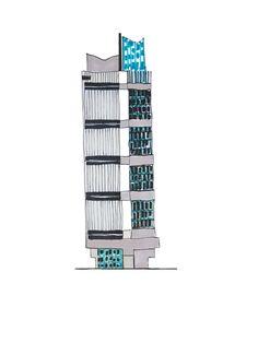Eva Lanter / The Fallen Monuments of Egerkingen / Jumbo Building / Sketch / 2016 Building Sketch, Building Design, Columbia Heights, Motion Design, Graphic Illustration, Illustrations, Willis Tower, Skyscraper, Multi Story Building