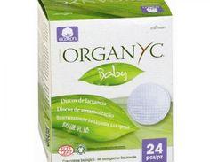 ORGANYC- Discos de lactancia orgánicos 24 unidades.  Ingredientes: algodón 100 % orgánico. Completamente biodegradables, sin tintes, ni perfumes, cloro ni plásticos. Hipoalergénico, apto para pieles sensibles. Alta capacidad de absorción natural