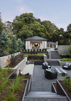 backyard designs – Gardening Ideas, Tips & Techniques Sloped Backyard, Sloped Garden, Backyard Patio, Sunken Patio, Sunken Garden, Outdoor Rooms, Outdoor Gardens, Outdoor Living, Modern Farmhouse Exterior