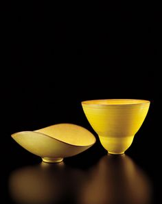 ** GERTRUD AND OTTO NATZLER Oval footed bowl, 1960 Double curved vase, circa 1960