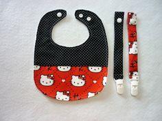 Babetes e molas de chupeta Hello Kity / Babete à prova de água preto e vermelho / Conjunto moderno menina bebé / Prenda futura mãe