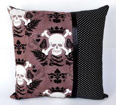 14x14 Skully Skull & Crossbones with Polka Dots Throw Pillow Skull ...