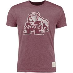 Mississippi State Bulldogs Original Retro Brand Vintage Tri-Blend T-Shirt - Heather Maroon - $29.99