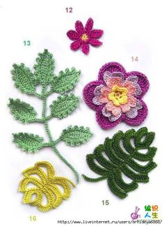 Many beautiful flower patterns with charts irish crochet flowers and leaves Crochet Leaves, Crochet Motifs, Crochet Flower Patterns, Crochet Diagram, Freeform Crochet, Crochet Chart, Thread Crochet, Floral Patterns, Floral Designs
