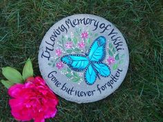 Personalized to any name, date and or saying! Butterfly Gifts, Blue Butterfly, Monarch Butterfly, Painted Stepping Stones, Painted Rocks, Painted Pavers, Personalized Garden Stones, Stone In Love, Personalized Memorial Gifts