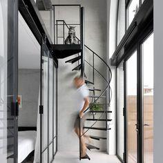 Staircase Architecture, Architecture Design, Loft Staircase, Basement Stairs, Spiral Staircase, Staircase Ideas, Loft Boards, Book Stairs, Mezzanine Loft