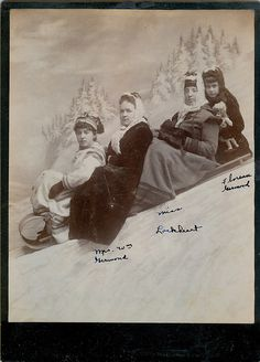A charming late Victorian staged studio photo of three women a little girl on sled. #Victorian #1800s #winter #portrait