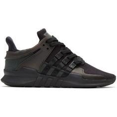 the latest e7973 f0eeb adidas Originals Black EQT Support ADV Sneakers (130) ❤ liked on Polyvore  featuring shoes, sneakers, black, laced up shoes, black mesh shoes, ...