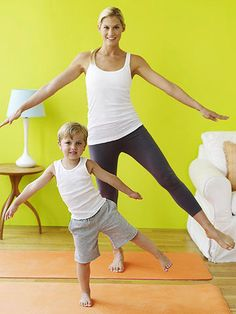 "These active moves can help kids blow off steam. Stand with feet wider than hip-width apart and raise arms out to the side, palms down. Teeter from side to side, switching feet, as you sing ""Twinkle, Twinkle Little Star""; keep swaying until you've done the song three times.   Originally published in the April 2009 issue of Parents magazine."