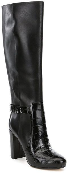 MICHAEL Michael Kors Julianna Leather Embossed Croc Riding Boots
